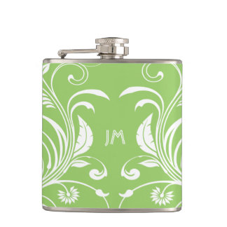 Girly green monogrammed floral PERSONALIZE Flask