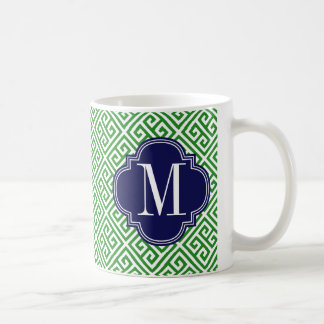 Girly Green & Navy Greek Key Pattern Custom Mug