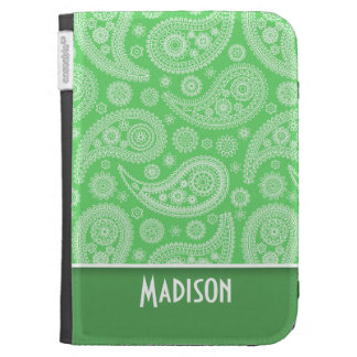 Girly Green Paisley Kindle 3 Cases