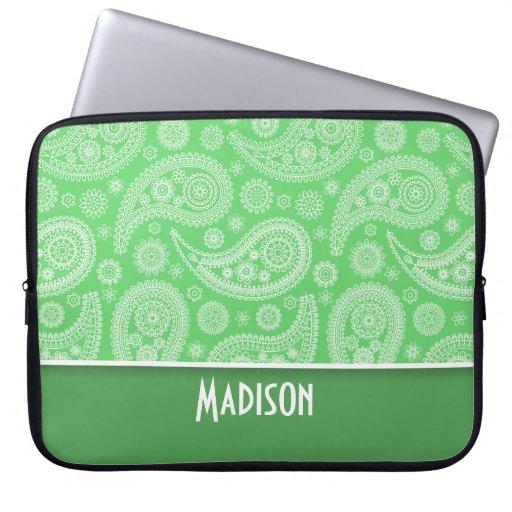 Girly Green Paisley Computer Sleeve