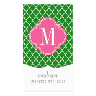 Girly Green & Pink Moroccan Tiles Monogram Business Card Template
