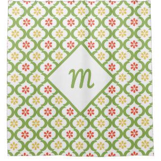 Girly Green Quatrefoil Cute Daisies and Monogram Shower Curtain
