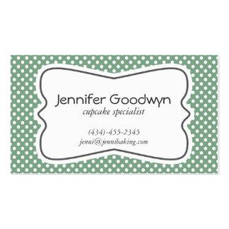 Girly Green White Polka Dots Business Card