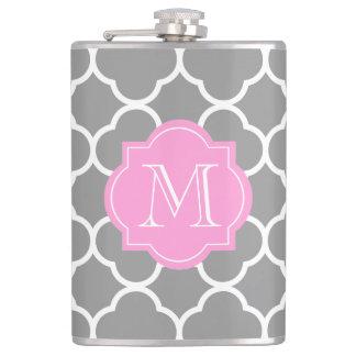 Girly Grey Quatrefoil Custom Pink Monogram Flask