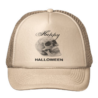 Girly Happy Halloween vintage skull graphic sketch Cap