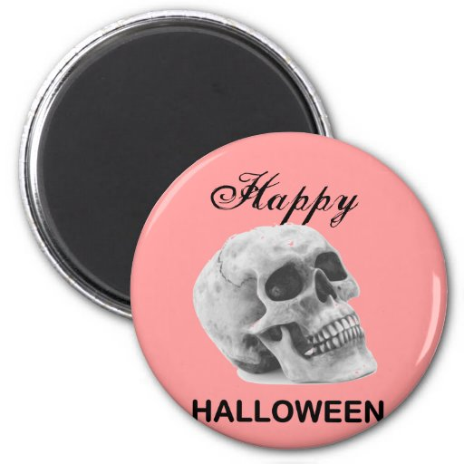 Girly Happy Halloween vintage skull graphic sketch Fridge Magnet