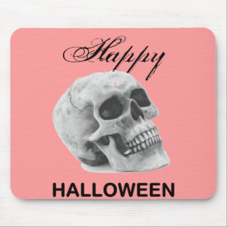 Girly Happy Halloween vintage skull graphic sketch Mouse Pads