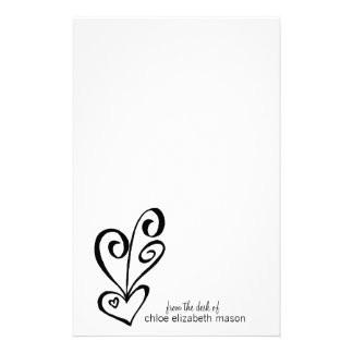 Girly Heart Doodles Stationery