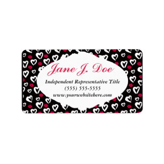 Girly Hearts and Lips Brochure Stickers Address Label