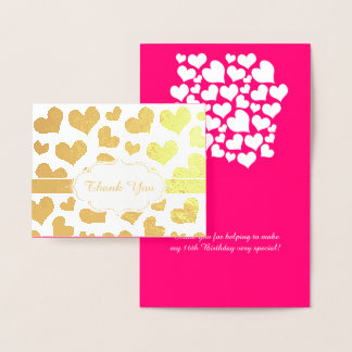 Girly Hearts Pink and Gold Birthday Sweet Sixteen Foil Card