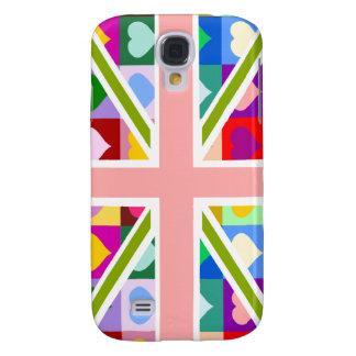 Girly Hearts Union Jack Galaxy S4 Case