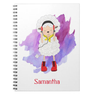 Girly Hipster Lamb Monogrammed Notebook