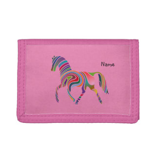 Girly Horse pattern Purse Personalized Trifold Wallet
