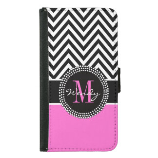 Girly Hot Pink and Black Chevron Monogram Samsung Galaxy S5 Wallet Case