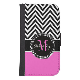Girly Hot Pink and Black Chevron Monogram Samsung S4 Wallet Case