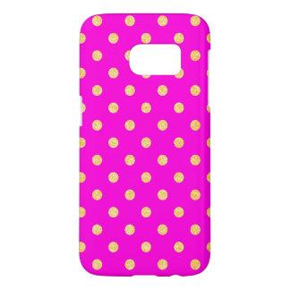 Girly Hot Pink and Gold Polka Dots