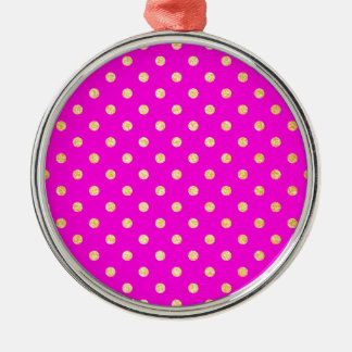 Girly Hot Pink and Gold Polka Dots Christmas Ornament
