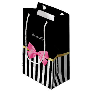 Girly Hot Pink Bow Black White Stripes With Name Small Gift Bag