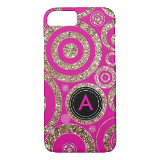 Girly Hot Pink Cute Glitter | Retro Funky Monogram iPhone 8/7 Case