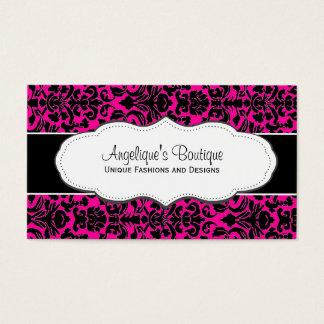Girly Hot Pink Damask Business Card
