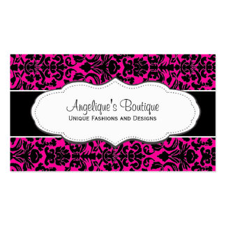 Girly Hot Pink Damask Business Card