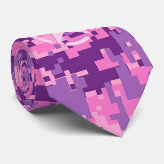 Girly Hot Pink Digital Camouflage Camo Tie