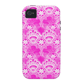 Girly Hot Pink Fuchsia White Lace Damask Case-Mate iPhone 4 Cover