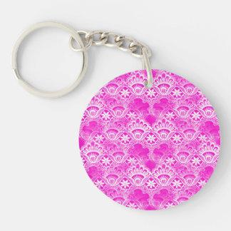 Girly Hot Pink Fuchsia White Lace Damask Double-Sided Round Acrylic Key Ring