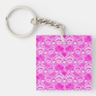 Girly Hot Pink Fuchsia White Lace Damask Acrylic Keychains
