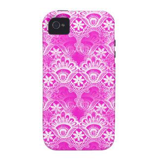 Girly Hot Pink Fuchsia White Lace Damask Vibe iPhone 4 Covers