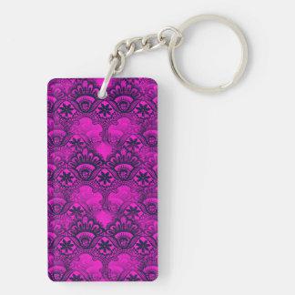 Girly Hot Pink Fuschia Navy Blue Damask Lace Rectangular Acrylic Key Chain