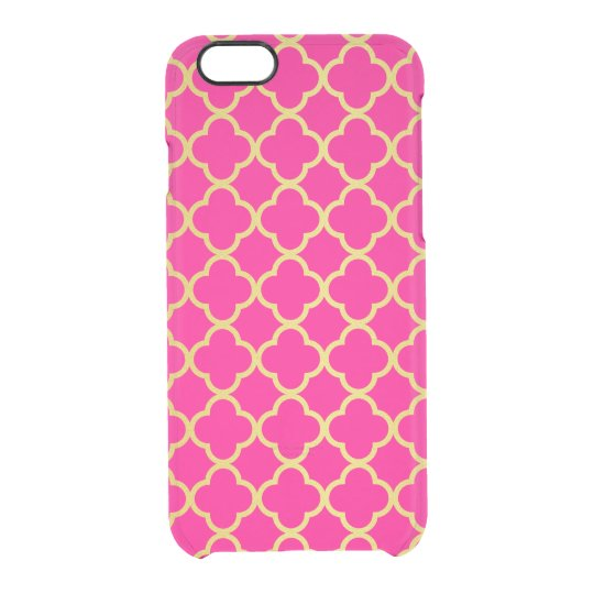 Girly Hot Pink Gold Quatrefoil Pattern Transparent Clear