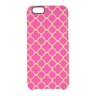 Girly Hot Pink Gold Quatrefoil Pattern Transparent iPhone 6 Plus Case