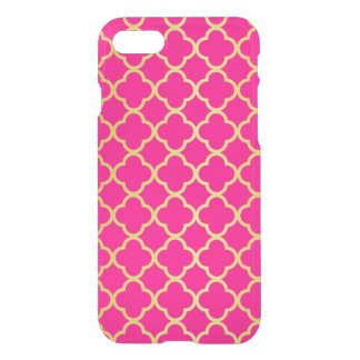 Girly Hot Pink Gold Quatrefoil Pattern Transparent iPhone 7 Case