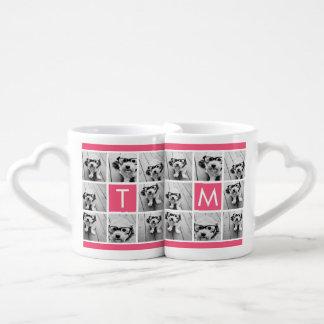 Girly Hot Pink Instagram Photo Collage Monogram Coffee Mug Set