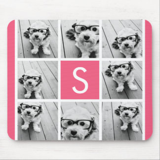 Girly Hot Pink Instagram Photo Collage Monogram Mouse Pad