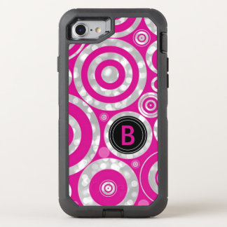Girly Hot Pink Silver Bokeh | Monogrammed Funky OtterBox Defender iPhone 7 Case
