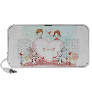Girly I Love You Bunnies and Hearts iPod Speaker