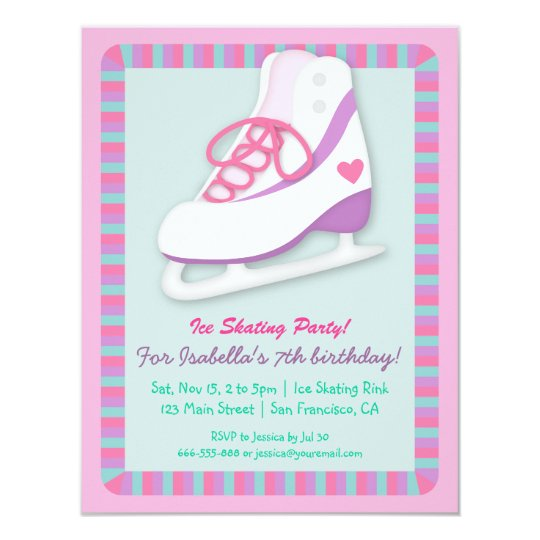Girly Ice Skating Birthday Party Invitations