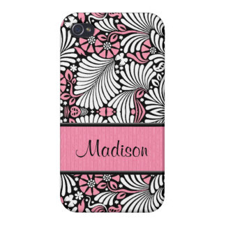 Girly in Pink and White Custom iPhone 4/4S Case