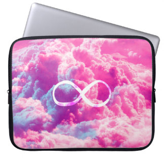 Girly Infinity Symbol Bright Pink Clouds Sky Laptop Sleeve