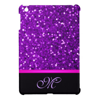 Girly Initial Mom Purple Cute Sparkle Pink Bling Cover For The iPad Mini