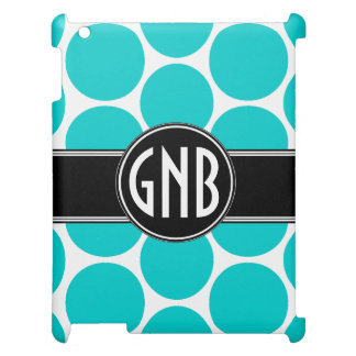 GIRLY INITIALS AQUA POLKA DOTS CASE FOR THE iPad 2 3 4