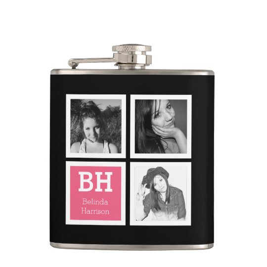 Girly Instagram Selfies Personalised Photo Hip Flask