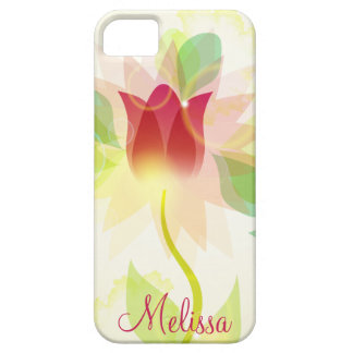 Girly iPhone5 Pink Abstract Watercolor Tulips iPhone 5 Cases