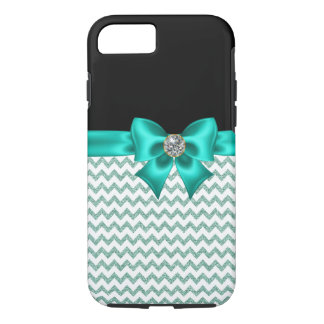 Girly Jeweled Turquoise Bow iPhone 8/7 Case