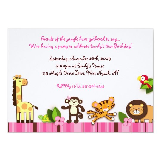 Girly Jungle Animal Birthday Invitations