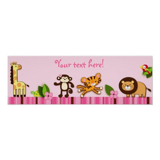Girly Jungle Animals Personalised Banner Poster
