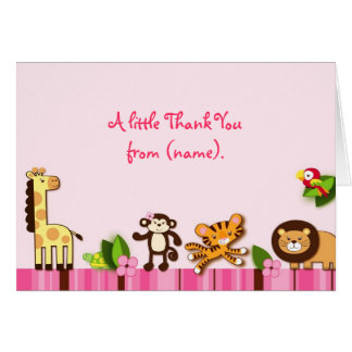 Girly Jungle Animals Thank You Note Cards