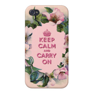 GIRLY KEEP CALM AND CARRY ON VINTAGE PINK FLORAL CASES FOR iPhone 4